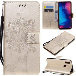 Embossing Butterfly Tree Leather Wallet Case for Xiaomi Mi Redmi Note 7 / Note 7 Pro - Champagne