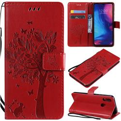 Embossing Butterfly Tree Leather Wallet Case for Xiaomi Mi Redmi Note 7 / Note 7 Pro - Red