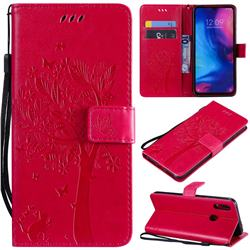Embossing Butterfly Tree Leather Wallet Case for Xiaomi Mi Redmi Note 7 / Note 7 Pro - Rose