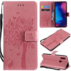 Embossing Butterfly Tree Leather Wallet Case for Xiaomi Mi Redmi Note 7 / Note 7 Pro - Pink