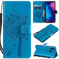 Embossing Butterfly Tree Leather Wallet Case for Xiaomi Mi Redmi Note 7 / Note 7 Pro - Blue
