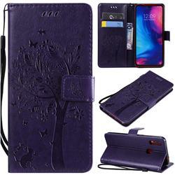 Embossing Butterfly Tree Leather Wallet Case for Xiaomi Mi Redmi Note 7 / Note 7 Pro - Purple