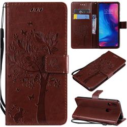 Embossing Butterfly Tree Leather Wallet Case for Xiaomi Mi Redmi Note 7 / Note 7 Pro - Coffee