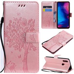 Embossing Butterfly Tree Leather Wallet Case for Xiaomi Mi Redmi Note 7 / Note 7 Pro - Rose Pink