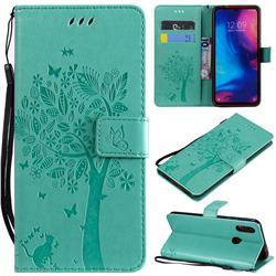 Embossing Butterfly Tree Leather Wallet Case for Xiaomi Mi Redmi Note 7 / Note 7 Pro - Cyan