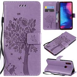 Embossing Butterfly Tree Leather Wallet Case for Xiaomi Mi Redmi Note 7 / Note 7 Pro - Violet