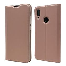 Ultra Slim Card Magnetic Automatic Suction Leather Wallet Case for Xiaomi Mi Redmi Note 7 / Note 7 Pro - Rose Gold