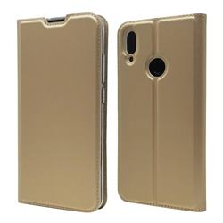 Ultra Slim Card Magnetic Automatic Suction Leather Wallet Case for Xiaomi Mi Redmi Note 7 / Note 7 Pro - Champagne