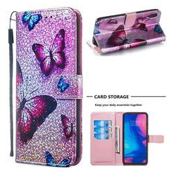 Blue Butterfly Sequins Painted Leather Wallet Case for Xiaomi Mi Redmi Note 7 / Note 7 Pro