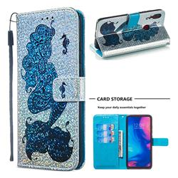 Mermaid Seahorse Sequins Painted Leather Wallet Case for Xiaomi Mi Redmi Note 7 / Note 7 Pro