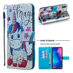 Star Unicorn Sequins Painted Leather Wallet Case for Xiaomi Mi Redmi Note 7 / Note 7 Pro