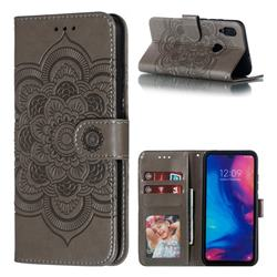 Intricate Embossing Datura Solar Leather Wallet Case for Xiaomi Mi Redmi Note 7 / Note 7 Pro - Gray
