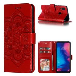 Intricate Embossing Datura Solar Leather Wallet Case for Xiaomi Mi Redmi Note 7 / Note 7 Pro - Red