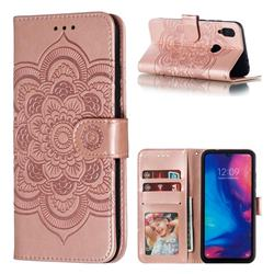 Intricate Embossing Datura Solar Leather Wallet Case for Xiaomi Mi Redmi Note 7 / Note 7 Pro - Rose Gold