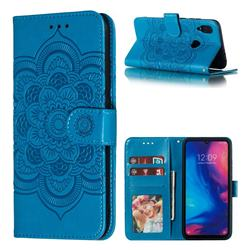Intricate Embossing Datura Solar Leather Wallet Case for Xiaomi Mi Redmi Note 7 / Note 7 Pro - Blue