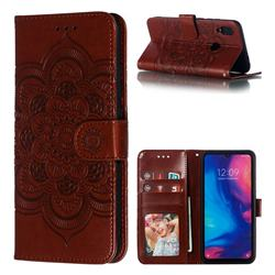 Intricate Embossing Datura Solar Leather Wallet Case for Xiaomi Mi Redmi Note 7 / Note 7 Pro - Brown