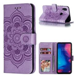 Intricate Embossing Datura Solar Leather Wallet Case for Xiaomi Mi Redmi Note 7 / Note 7 Pro - Purple