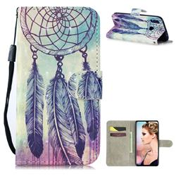 Feather Wind Chimes 3D Painted Leather Wallet Phone Case for Xiaomi Mi Redmi Note 7 / Note 7 Pro
