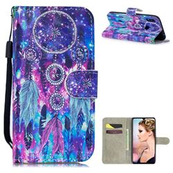 Star Wind Chimes 3D Painted Leather Wallet Phone Case for Xiaomi Mi Redmi Note 7 / Note 7 Pro