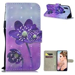 Purple Flower 3D Painted Leather Wallet Phone Case for Xiaomi Mi Redmi Note 7 / Note 7 Pro