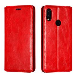 Retro Slim Magnetic Crazy Horse PU Leather Wallet Case for Xiaomi Mi Redmi Note 7 / Note 7 Pro - Red
