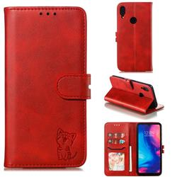 Embossing Happy Cat Leather Wallet Case for Xiaomi Mi Redmi Note 7 / Note 7 Pro - Red