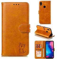 Embossing Happy Cat Leather Wallet Case for Xiaomi Mi Redmi Note 7 / Note 7 Pro - Yellow