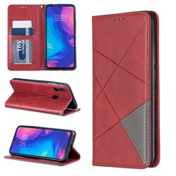Prismatic Slim Magnetic Sucking Stitching Wallet Flip Cover for Xiaomi Mi Redmi Note 7 / Note 7 Pro - Red