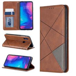 Prismatic Slim Magnetic Sucking Stitching Wallet Flip Cover for Xiaomi Mi Redmi Note 7 / Note 7 Pro - Brown