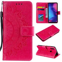 Intricate Embossing Datura Leather Wallet Case for Xiaomi Mi Redmi Note 7 / Note 7 Pro - Rose Red