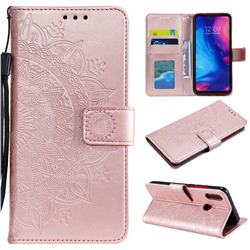 Intricate Embossing Datura Leather Wallet Case for Xiaomi Mi Redmi Note 7 / Note 7 Pro - Rose Gold
