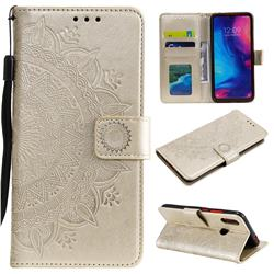 Intricate Embossing Datura Leather Wallet Case for Xiaomi Mi Redmi Note 7 / Note 7 Pro - Golden