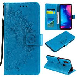 Intricate Embossing Datura Leather Wallet Case for Xiaomi Mi Redmi Note 7 / Note 7 Pro - Blue