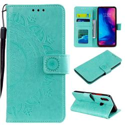 Intricate Embossing Datura Leather Wallet Case for Xiaomi Mi Redmi Note 7 / Note 7 Pro - Mint Green