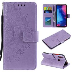 Intricate Embossing Datura Leather Wallet Case for Xiaomi Mi Redmi Note 7 / Note 7 Pro - Purple
