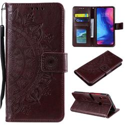 Intricate Embossing Datura Leather Wallet Case for Xiaomi Mi Redmi Note 7 / Note 7 Pro - Brown