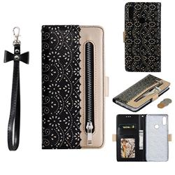 Luxury Lace Zipper Stitching Leather Phone Wallet Case for Xiaomi Mi Redmi Note 7 / Note 7 Pro - Black