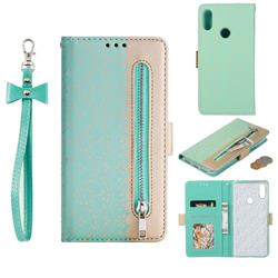Luxury Lace Zipper Stitching Leather Phone Wallet Case for Xiaomi Mi Redmi Note 7 / Note 7 Pro - Green