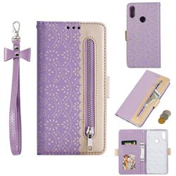 Luxury Lace Zipper Stitching Leather Phone Wallet Case for Xiaomi Mi Redmi Note 7 / Note 7 Pro - Purple