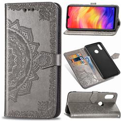 Embossing Imprint Mandala Flower Leather Wallet Case for Xiaomi Mi Redmi Note 7 / Note 7 Pro - Gray