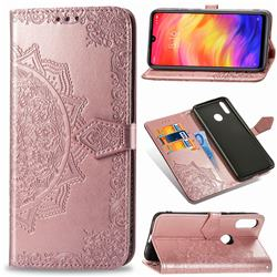 Embossing Imprint Mandala Flower Leather Wallet Case for Xiaomi Mi Redmi Note 7 / Note 7 Pro - Rose Gold