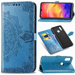 Embossing Imprint Mandala Flower Leather Wallet Case for Xiaomi Mi Redmi Note 7 / Note 7 Pro - Blue