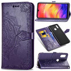 Embossing Imprint Mandala Flower Leather Wallet Case for Xiaomi Mi Redmi Note 7 / Note 7 Pro - Purple