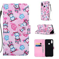 Unicorn and Flowers Matte Leather Wallet Phone Case for Xiaomi Mi Redmi Note 7 / Note 7 Pro