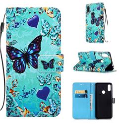 Love Butterfly Matte Leather Wallet Phone Case for Xiaomi Mi Redmi Note 7 / Note 7 Pro