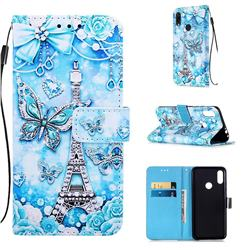 Tower Butterfly Matte Leather Wallet Phone Case for Xiaomi Mi Redmi Note 7 / Note 7 Pro