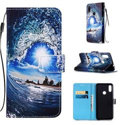Waves and Sun Matte Leather Wallet Phone Case for Xiaomi Mi Redmi Note 7 / Note 7 Pro