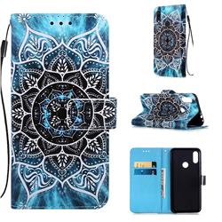 Underwater Mandala Matte Leather Wallet Phone Case for Xiaomi Mi Redmi Note 7 / Note 7 Pro