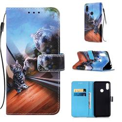 Mirror Cat Matte Leather Wallet Phone Case for Xiaomi Mi Redmi Note 7 / Note 7 Pro