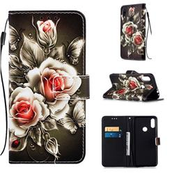 Black Rose Matte Leather Wallet Phone Case for Xiaomi Mi Redmi Note 7 / Note 7 Pro